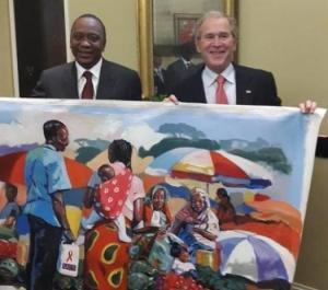 President Uhuru Kenyatta and George Bush holding the painting.